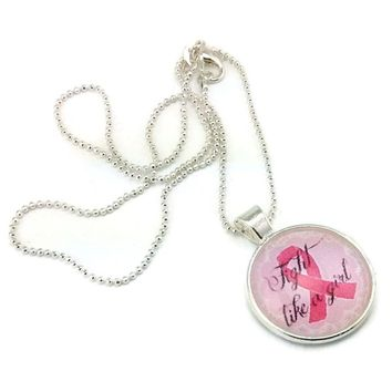 Mama Designs Breast Cancer Awareness Pink Ribbon 'Fight like a Girl' Pendant Necklace | Overstock.com Shopping - The Best Deals on Necklaces