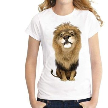 Printed Lion Summer Top T-shirt Tee