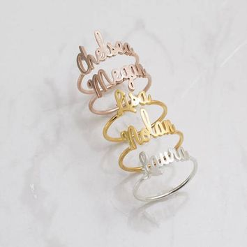 Custom Name Ring In Rose Gold Color Personalized Jewelry Bridesmaids Gifts Stainless Steel Handmade Unique Font Adjustable Rings