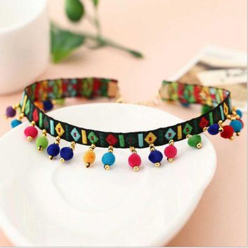 ONETOW New items decorated fashion embroidery collar, Bohemian national wind color hair ball collar