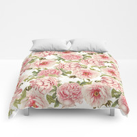 old fashioned peonies Comforters by Sylvia Cook Photography