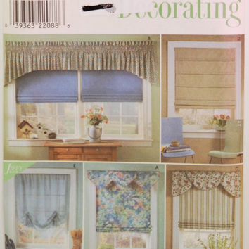 Simplicity Home Decorating 8353 (c. 1998) Roman Shades, Valance, Swags, Home Decor, Window Treatments, Sewing, Living Room, Kitchen, Bedroom