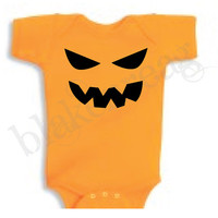 SCARY Jack-O-Lantern Baby Shirt Creeper Baby Shower Infant T-Shirt Cute Halloween Costume ORANGE Romper Rabbit Skins