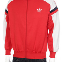 Vintage 80s Adidas Trefoil Logo Tracksuit Top Windbreaker jacket Hip Hop Rap Style Color Block  Red/White/  Black  Size S/M