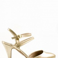 TRENDA-03-03-15 Strappy Slingback Pumps Women Pumps and Heels GOLD Bare Feet Shoes