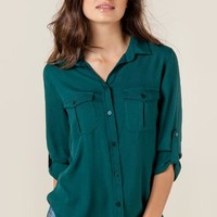 Carlene solid button down top