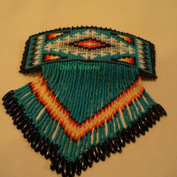 Native American Style square stitched Turquoise Blue 70mm barrette