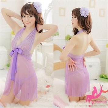 Lace Lingerie Dress+G-string Bow-knot See Through Dress Sleepwear