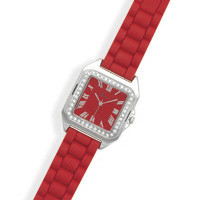 Red Rubber Fashion Watch with Square Face
