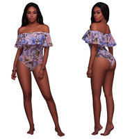 Off Shoulder Ruffled Floral Bodysuit