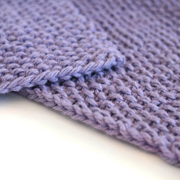 hand knit lilac lavender purple cotton washcloth and scrubber set