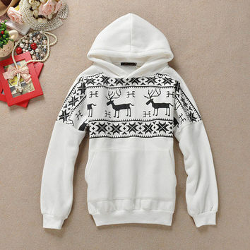 High Quality Reindeer Snow Flake Hooded Sweater Hoodie White Red Black