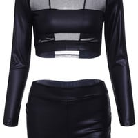 Black Sheer Faux Leather Crop Top+Bodycon Shorts Twinset