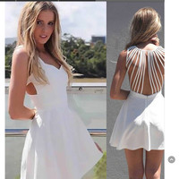 Women's Fashion Summer Sexy White Hollow Out One Piece Dress [9710109391]