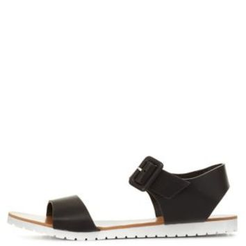 Black White Sole Single Strap Flat Sandals by Charlotte Russe
