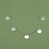 Gypsy Necklace - sterling silver small disc jewelry, trendy necklace, fashion