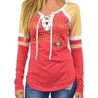 San Francisco 49ers Womens Laceup Long Sleeve Top | SportyThreads.com