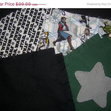 Rag quilt kit STAR WARS  flannel fabric Jedi Yoda Fringed die cut  quilt squares quilting sewing material