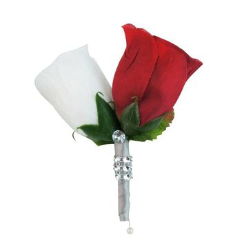 Rose Boutonniere: Red and White Rosebud
