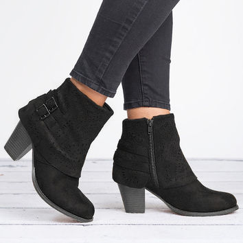 Perforated Ankle Boots - Black