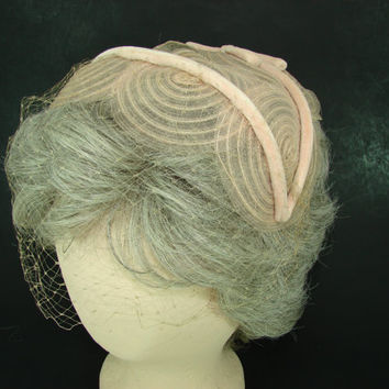 Pink Fitted Hat with Velvet Bow and Netting Peach Discs Organza Hat