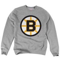 Mens Boston Bruins Mitchell & Ness Ash Primary Logo Tailored Fit Crew Neck Sweatshirt