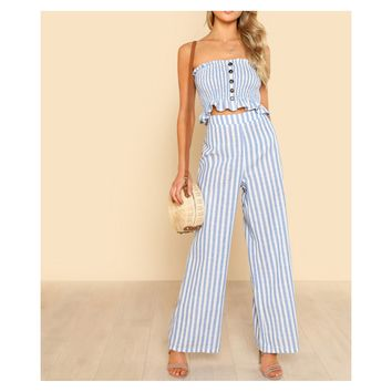 Blue White Striped Shirred Crop Top and Pants Set