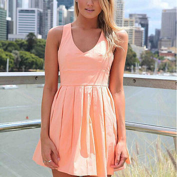 Women Mini Dress with Open Cross Bow Back