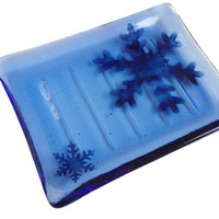 Fused Art Glass Soap Dish  - Bathroom Decor - Snowflake