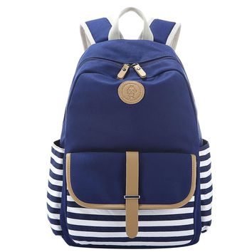 navy blue and white striped cavans backpack travel daypack 2