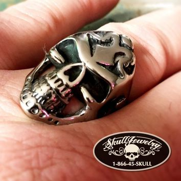 'Carry on Wayward Son' Badass Stainless Skull Ring - Big & Long (4020)