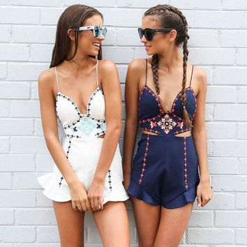 2017 Summer Embroidery Backless Romper [9819011597]