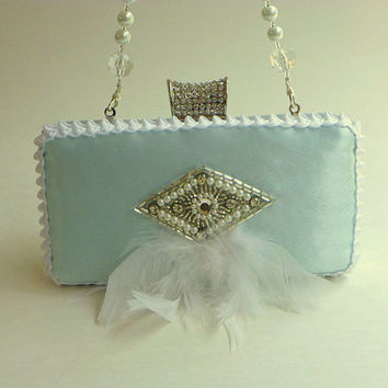 wedding purse, clutch, mint, pale mint, satin, rhinestones, pearls, crystals, feathers, bridal purse, beaded strap