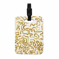 "Anneline Sophia ""Squiggles in Gold"" Yellow White Decorative Luggage Tag"