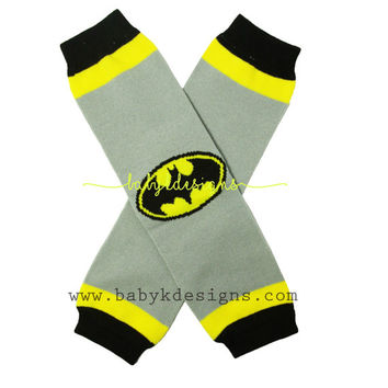 Batman Baby Boy | Girl NO Ruffle Grey n Black Legwarmers.Kids Children Unisex Warm Costume Leg Warmers. Footless Super Hero Sock