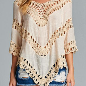 Tan Crochet Boho Tunic