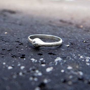 Silver raw diamond pebble ring in sterling silver, engagement ring
