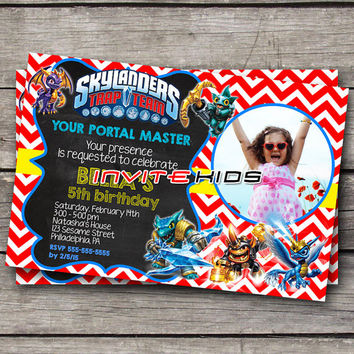 Skylanders Chevron Trap Team - Invitation Card - Birthday Party Kids - InviteKids