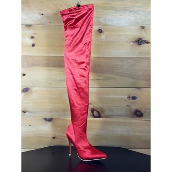 Mac J Stretch Red Satin Stocking High Heel Thigh High Boots