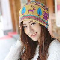 Animal and Tree Printed Jacquard Knit Hat