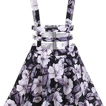 Women High Waist Hollow Out Pleated Floral Print Suspender Braces Skirt