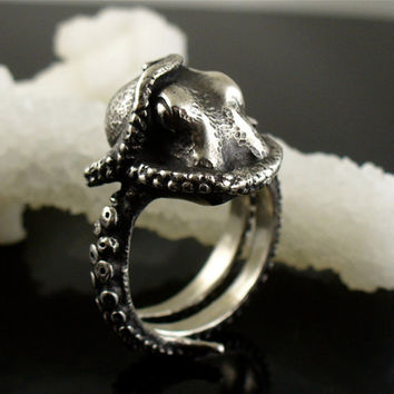 Retail personalized adjustable deep sea octopus ancient silver plating ring black male rings