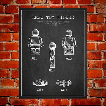 Lego Toy Figure Patent, Canvas Print, Wall Art, Home Decor, Gift Idea