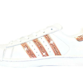 Women's Adidas Original Superstar Hand Painted with SWAROVSKI® Xirius Rose Gold Crystals
