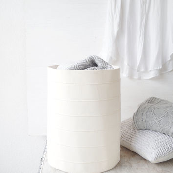 Laundry hamper. Large toy storage basket. Storage bin. Fabric basket. Canvas storage bin. Bathroom bucket. White home decor. Nursery decor