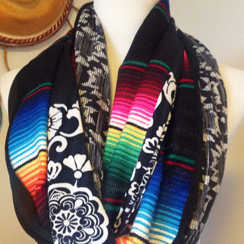 Mexican Blanket/Serape Scarf in Black with Medallion and Gray Tribal