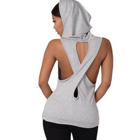 Hooded Cross Halter Sweatshirt