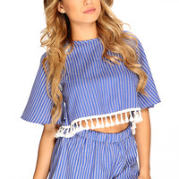 Blue Tassel Fringe Two Tone Casual Outfit