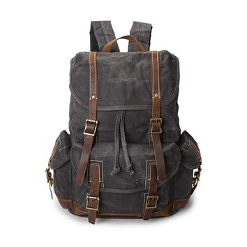 School Backpack trendy DECRJI Backpack Men Vintage Waterproof Travel School Bags High Quality Male Crazy Horse Leather Oil Wax Canvas Laptop Backpacks AT_54_4