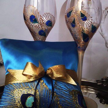 Hand painted Blue Satin ring bearer pillow peacock feathers in gold, blue and turquoise personalized wedding favor